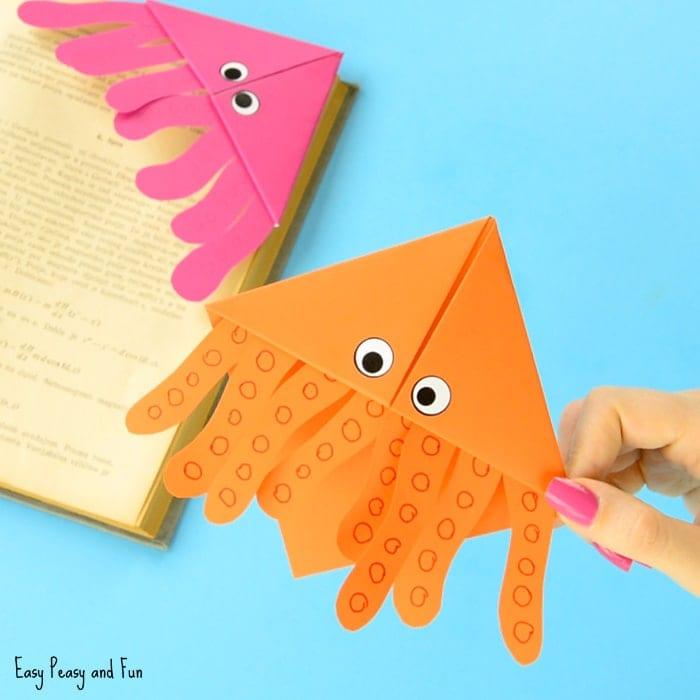 pyssel, pysseltips, pysselidé, barnpyssel, pyssel för barn, origami, vika papper, vika bokmärke, vika hörnbokmärke, bläckfisk