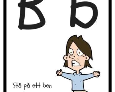 aktiviteter för barn, barnaktiviteter, pyssla och lek, knep och knåp, lära sig alfabetet, lära sig bokstaven B, röra på sig, lekar, rörelselekar