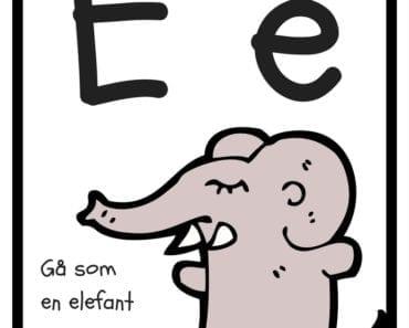 aktiviteter för barn, barnaktiviteter, pyssla och lek, knep och knåp, lära sig alfabetet, lära sig bokstaven E, röra på sig, lekar, rörelselekar