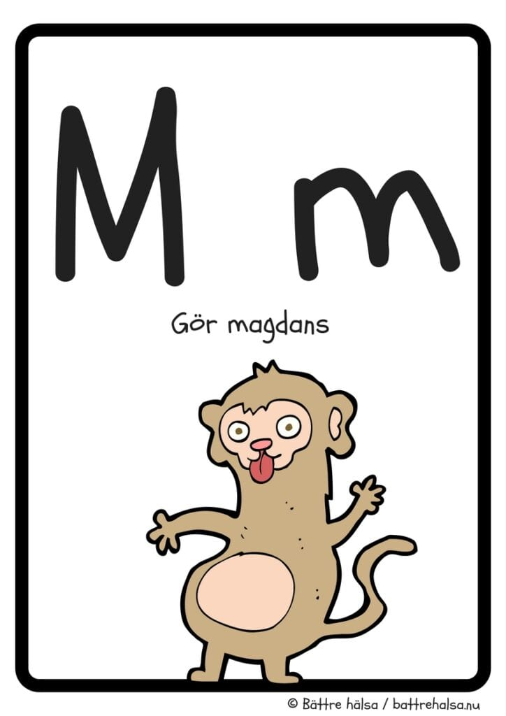 aktiviteter för barn, barnaktiviteter, pyssla och lek, knep och knåp, lära sig alfabetet, lära sig bokstaven M, röra på sig, lekar, rörelselekar