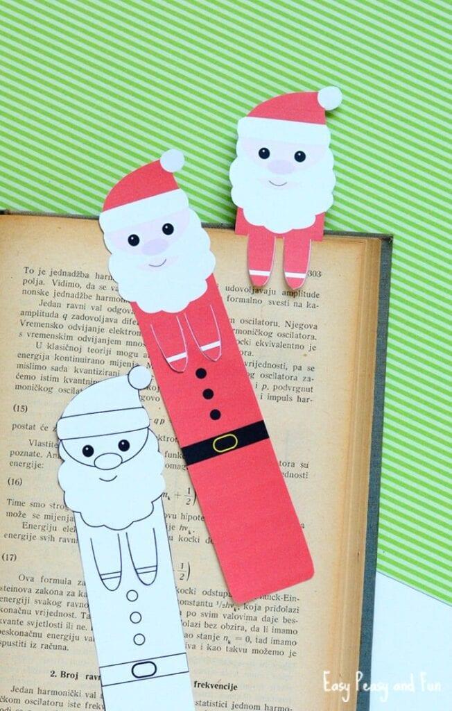 aktiviteter för barn, barnaktiviteter, pyssla och lek, knep och knåp, lektioner, skola, lektionstips, förskola, julpyssel, julpyssel för barn, papperspyssel, göra bokmärke, färglägga, jultomte, målarbild