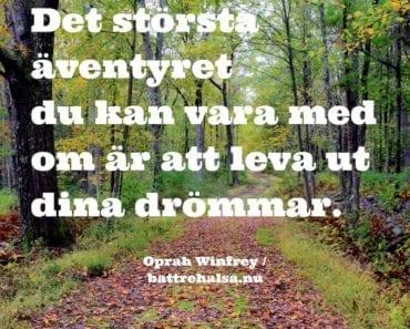 citat av Oprah Winfrey, bra citat, citat om livet, följa sina drömmar, livet är ett äventyr