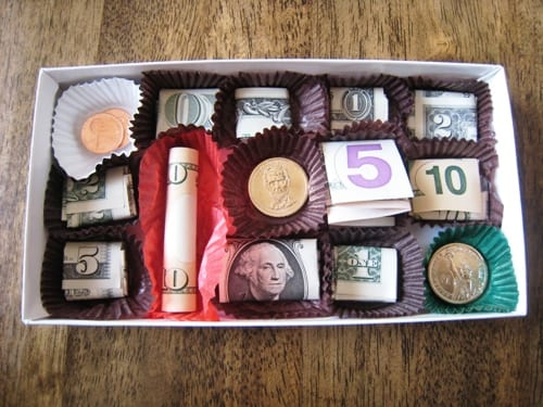 Chokladask med pengar
