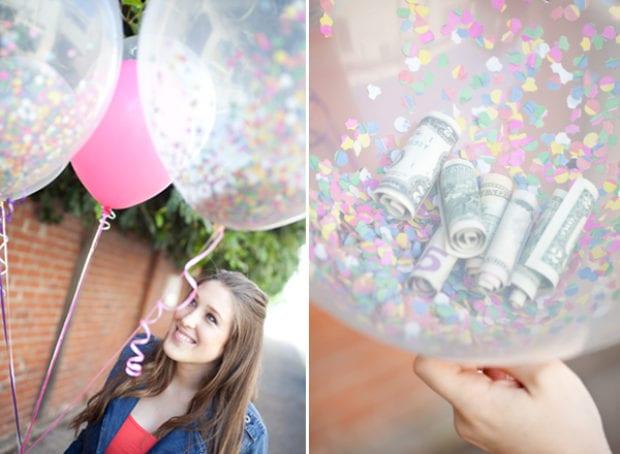Ballonger med pengar och konfetti