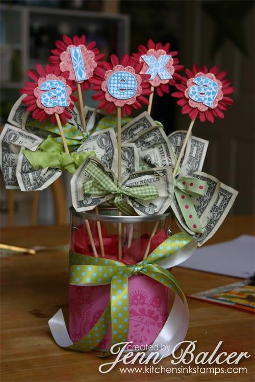 Blombukett med pengar