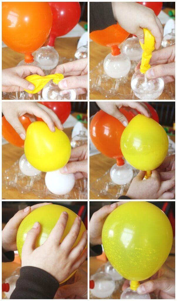 regnbågsexperiment, färgexperiment, få ballonger att jäsa, bakpulver i ballonger