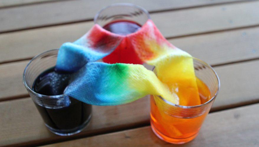 regnbågsexperiment, färgexperiment, blanda färger, blanda gult och blått