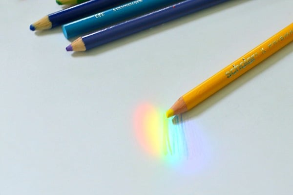 regnbågsexperiment, färgexperiment, ljuset bryts i prismor