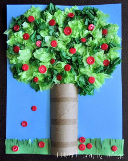 Äppelträd av toarulle och silkespapper, pyssel, toarullar, silkespapper