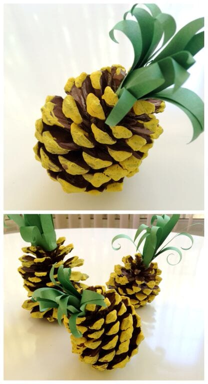 Ananas av målad kotte