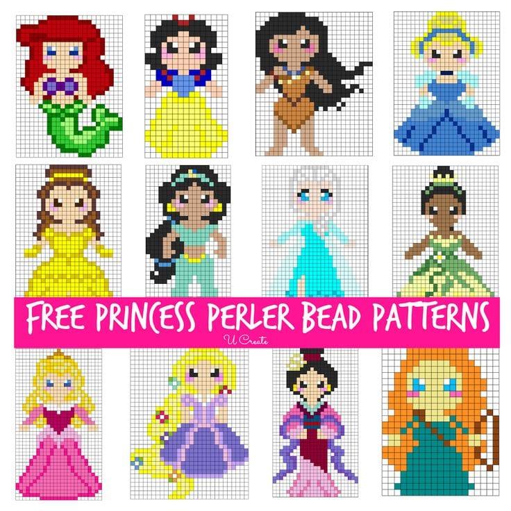 pärlor, pärlplatta, pyssel, pysseltips, mönster, Disney Princess