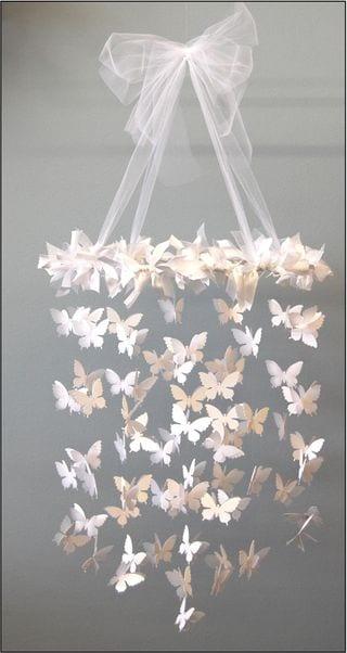 pyssel, pysseltips, inredning, fjärilar, mobil, lampa