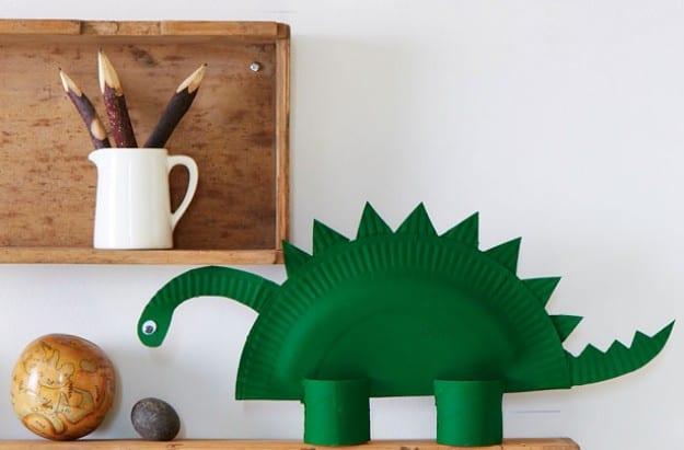 pyssel, pysseltips, pyssla, skapa, barnpyssel, pyssel för barn, papperstallrik , dinosaurie