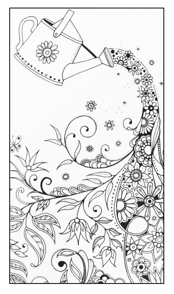 målarbilder, målarbild, gratis målarbilder, gratis målarbild, målarbok, målarböcker, målarbok för vuxna, målarböcker för vuxna, zentangle, mandala, mindfulness, måla, färglägga, mindfullness, doodle, bättre hälsa, bra hälsa, vattenkanna, trädgård, trädgårdsmotiv, blomma, blommor, blommotiv, blomstermotiv