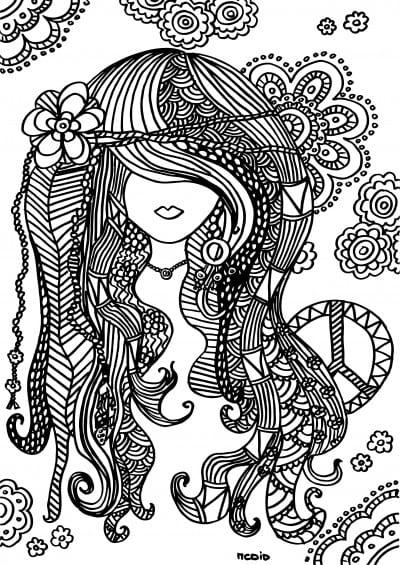 målarbilder, målarbild, gratis målarbilder, gratis målarbild, målarbok, målarböcker, målarbok för vuxna, målarböcker för vuxna, zentangle, mandala, mindfulness, måla, färglägga, mindfullness, doodle, bättre hälsa, bra hälsa, människa, tjej, kvinna, hippie, Woodstock