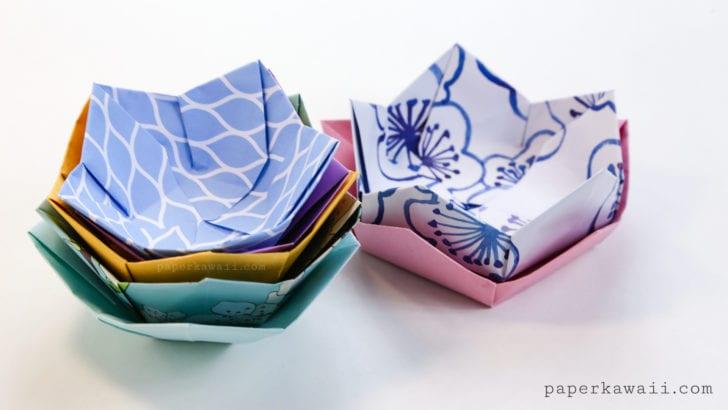 origami, papper, vika papper, skål, vika skål, blomma, vika blomma