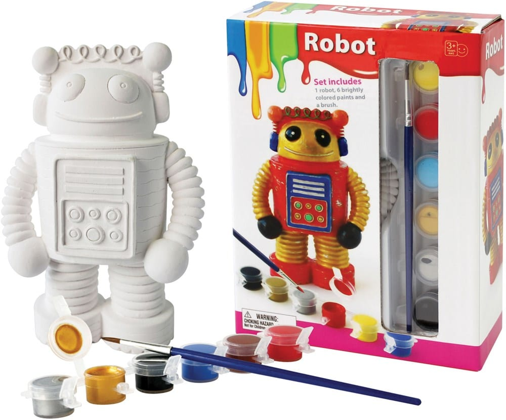pyssel, pyssla, pysseltips, pysselidé, skapa, barnpyssel, familjepyssel, pyssel för barn, bättre hälsa, bra hälsa, må bra, kreativitet, skapande, skaparglädje, porslin, måla, måla på porslin, robot, Oliver & Kids, leksaker från Oliver & Kids