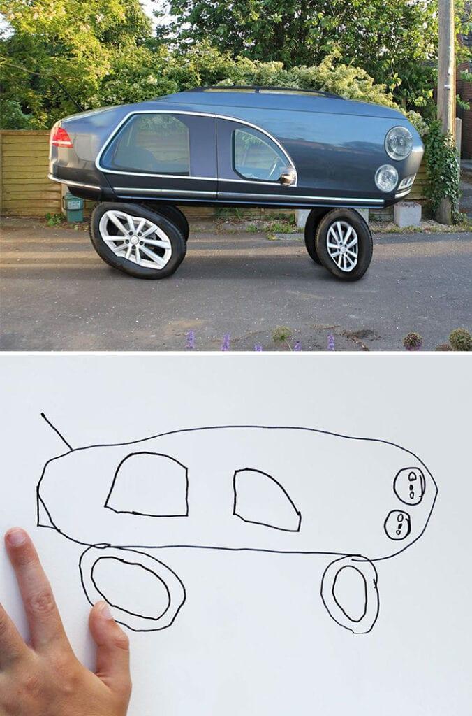 barns fantasi, kreativitet, barn, familj, förälder, bil, bilar