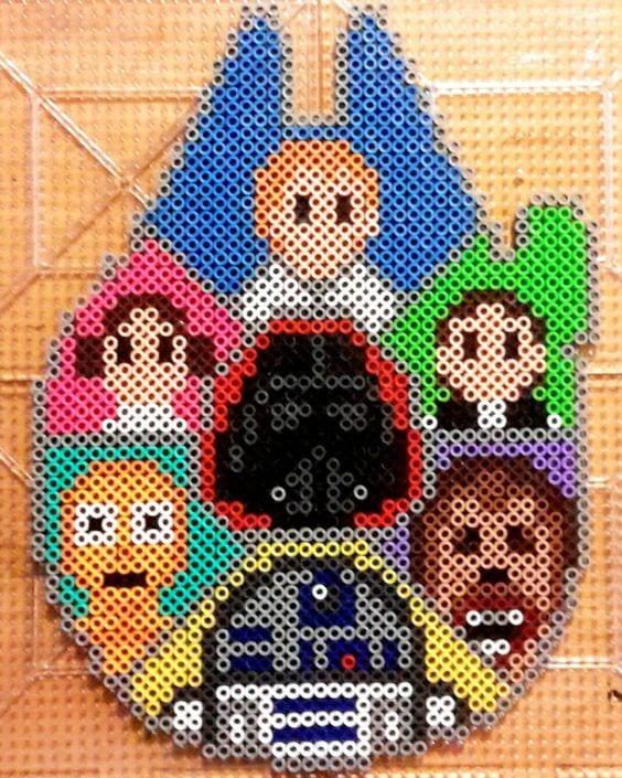 hama, hama pärlor, pärla, pärlor, Star Wars, mönster, pärlplattemönster, pärlplatta, pärlplattor, pärla på pärlplattor, C3PO, android, robot, R2D2, Leia, Leia Organa, Luke Skywalker, Han Solo, wookie, Chewie, Chewbacca, Darth Vader