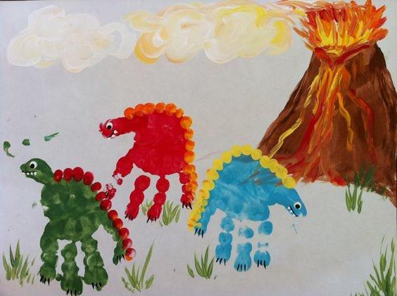 pyssel, pyssla, pysseltips, pysselidéer, barn, barnpyssel, pyssel för barn, enkelt pyssel, avtryck, handavtryck, skola, förskola, fritids, skapa, skapande, kreativitet, dinosaurier
