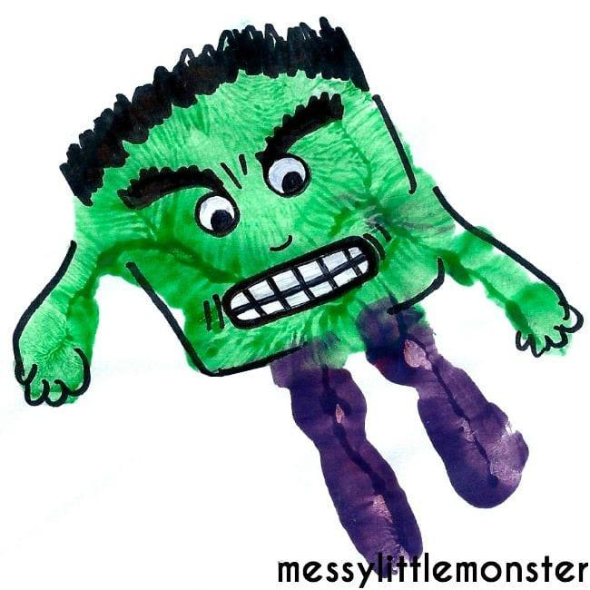 pyssel, pyssla, pysseltips, pysselidéer, barn, barnpyssel, pyssel för barn, enkelt pyssel, avtryck, handavtryck, skola, förskola, fritids, skapa, skapande, kreativitet, Hulken, The Hulk, Marvel, hjälte, superhjälte
