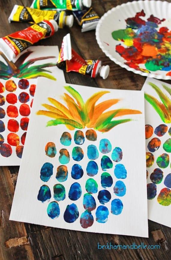 pyssel, pyssla, pysseltips, pysselidéer, barn, barnpyssel, pyssel för barn, enkelt pyssel, avtryck, fingeravtyck, skola, förskola, fritids, skapa, skapande, kreativitet, ananas, frukt