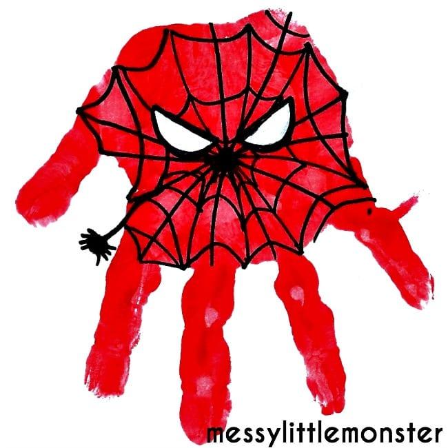 pyssel, pyssla, pysseltips, pysselidéer, barn, barnpyssel, pyssel för barn, enkelt pyssel, avtryck, handavtryck, skola, förskola, fritids, skapa, skapande, kreativitet, Spiderman, Spindelmannen, Marvel