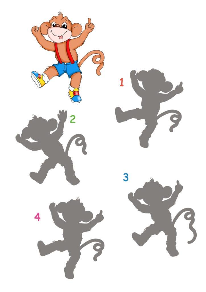 knep, knåp, knep och knåp, knep & knåp, förskola, skola fritids, barnpyssel, pyssel, pyssel för barn, apa, rolig apa, dansande apa, appyssel, kan du hitta skuggan, former, lära sig se former