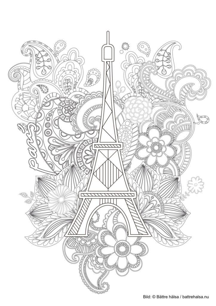 målarbilder, målarbild, gratis målarbilder, gratis målarbild, målarbok, målarböcker, målarbok för vuxna, målarböcker för vuxna, zentangle, mandala, mindfulness, måla, färglägga, mindfullness, bild, Eiffeltornet, Paris, ornament, blomma, blommor