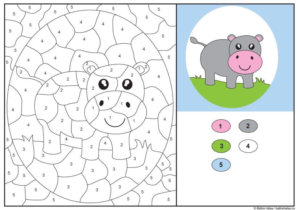 knep, knåp, knep och knåp, knep & knåp, förskola, skola fritids, barnpyssel, pyssel, pyssel för barn, pyssla och lek, lär dig räkna, räkna, dra streck mellan siffror, dra streck, nummer, siffror, lära sig räkna till 100, lära sig räkna till fem, matte, matematik, mattepyssel, måla efter numren, färglägga, färglägga efter siffrorna, flodhäst, djur, safaridjur, målarbild, målarbild för barn, bilder att färglägga