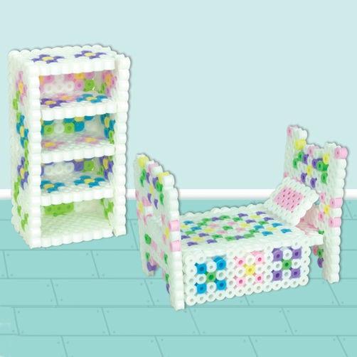 pärla, pärlplatta, pärlplattor, mönster, pärlplattemönster, 3D, dockmöbler, dockhus, möbler