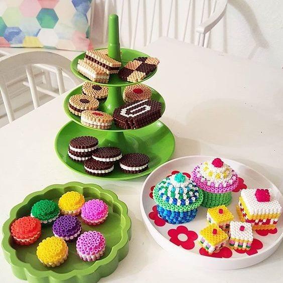 pärla, pärlplatta, pärlplattor, mönster, pärlplattemönster, 3D, kaka, kakor, cupcake, tårta
