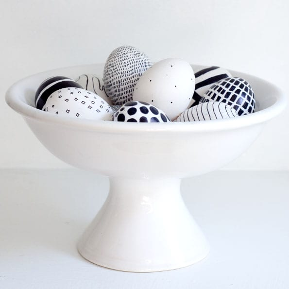 påsk, påskpyssel, pyssel, pysseltips, pysselidéer, måla ägg, svart och vitt, geometriska mönster, geometri