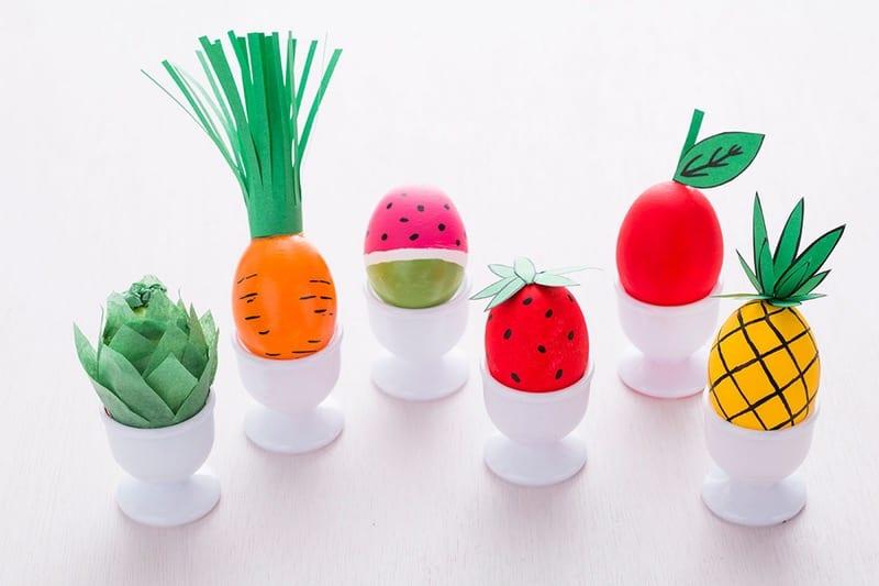 påsk, påskpyssel, pyssel, pysseltips, pysselidéer, måla ägg, frukt, grönsak, melon, morot, jordgubbe, ananas