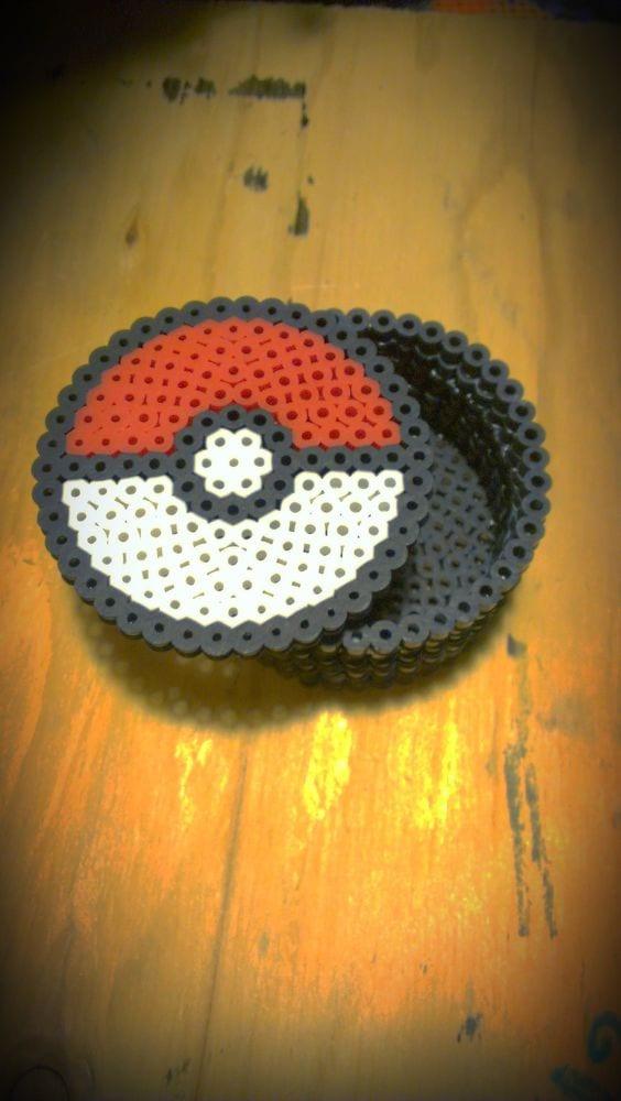 pärla, pärlplatta, pärlplattor, mönster, pärlplattemönster, 3D, Pokémon, Pokemon, Pokéball, pokéboll, ask
