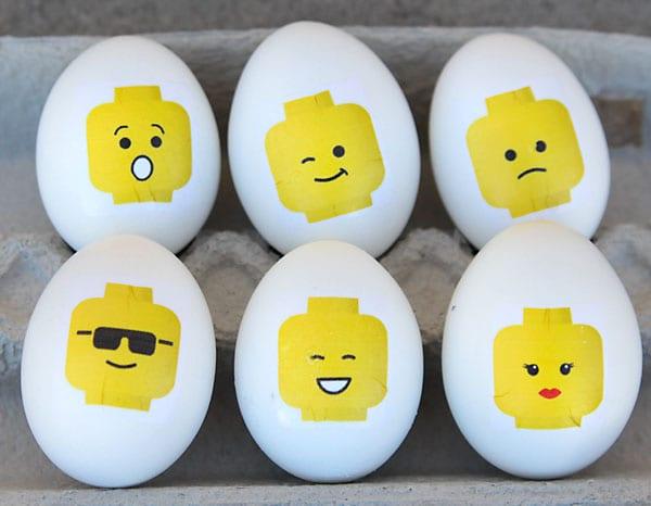 påsk, påskpyssel, pyssel, pysseltips, pysselidéer, måla ägg, LEGO, ansikten, smiley, figurer, gubbar