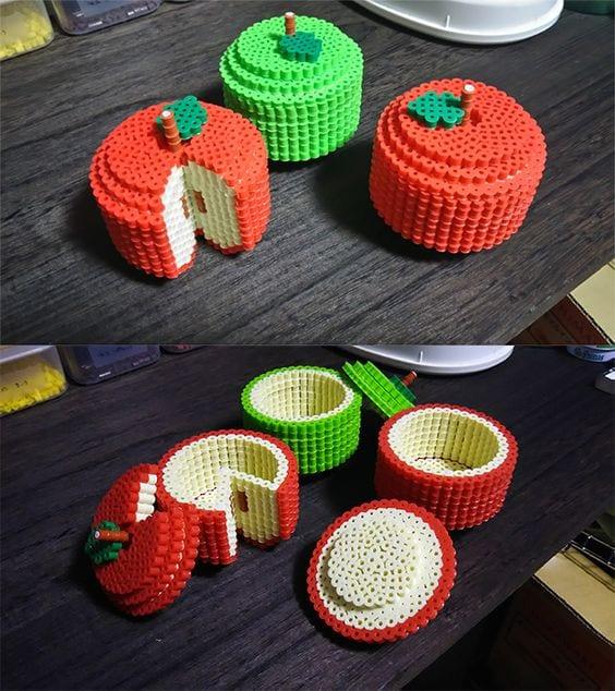 pärla, pärlplatta, pärlplattor, mönster, pärlplattemönster, 3D, ask, askar, förvaring, äpplen
