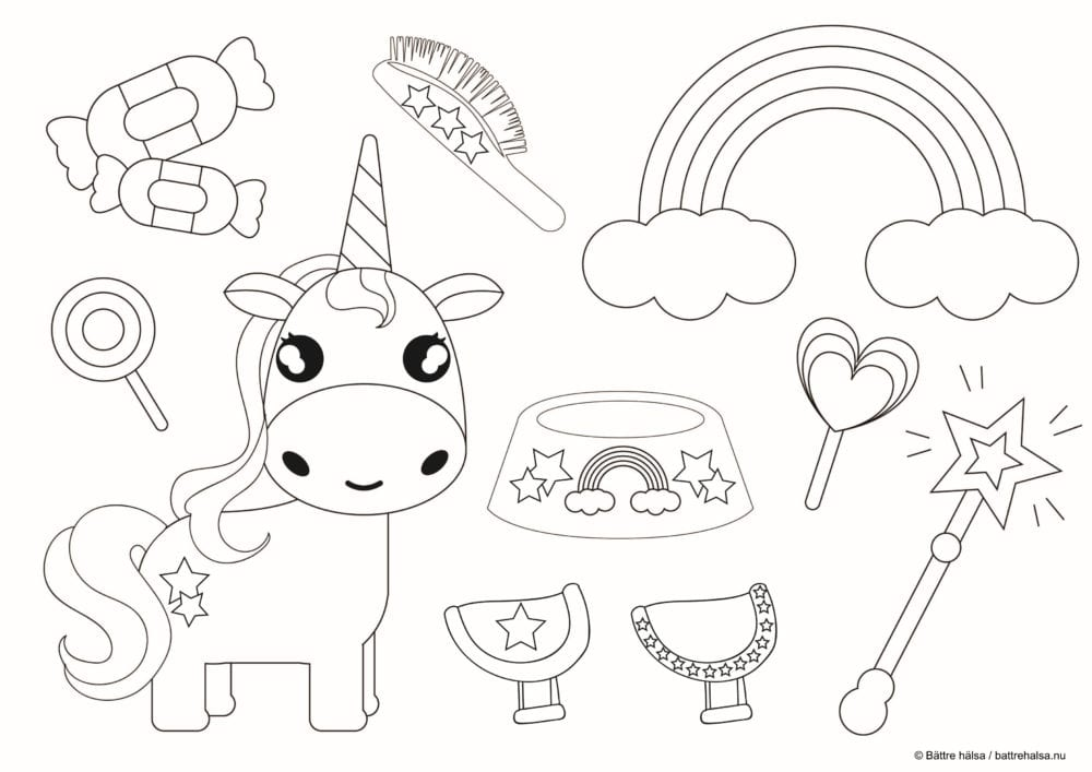 pyssel, knåp, barnpyssel, barn, skola, fritids, förskola, klippa ut, klippdocka, papperspyssel, klipp docka, pappersdocka, lek, leksak, färglägga, enhörning, sagodjur, sagohäst, magiskt horn, trollspö, magiska föremål, regnbåge