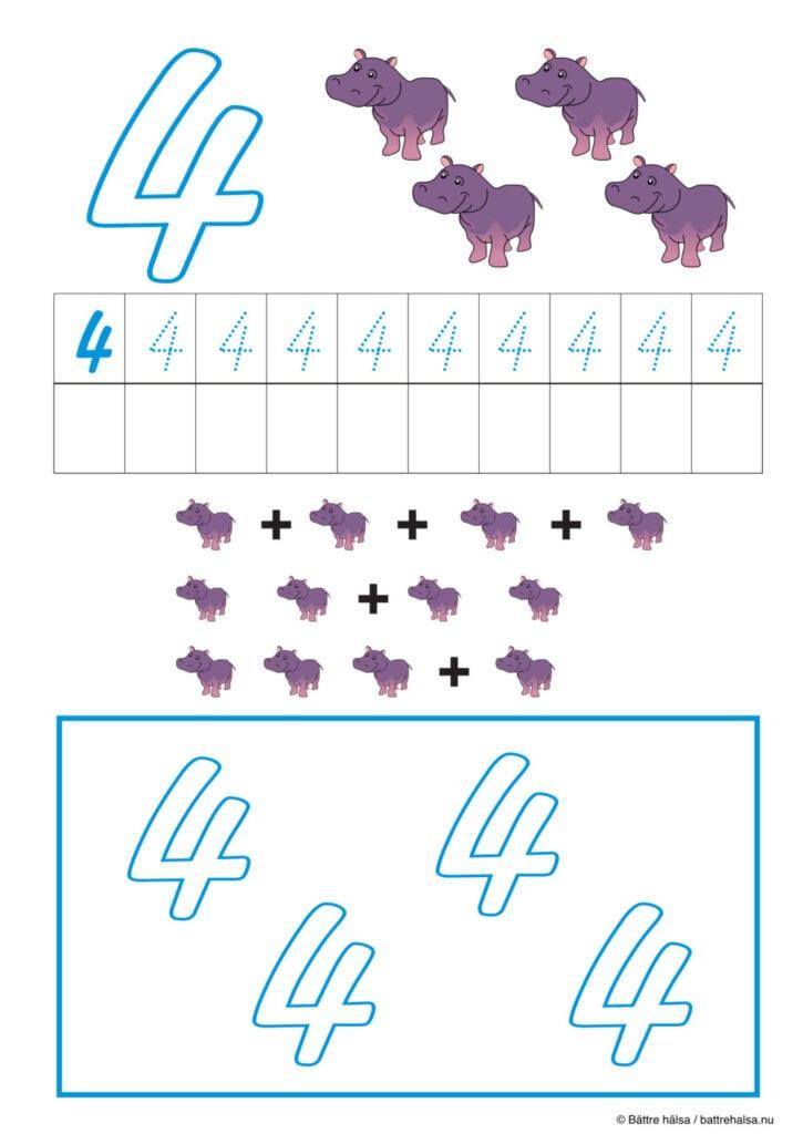 lära sig räkna, räkna, matte, räkna till tio, pyssla och lek, bättre hälsa, pyssel för barn, barnpyssel, matte, matematik, mattepyssel, pyssel, knep och knåp, räkna till 4, fyra