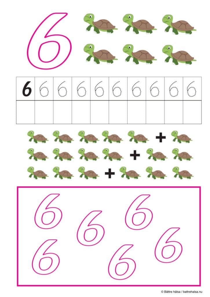 lära sig räkna, räkna, matte, räkna till tio, pyssla och lek, bättre hälsa, pyssel för barn, barnpyssel, matte, matematik, mattepyssel, pyssel, knep och knåp, räkna till 6, sex