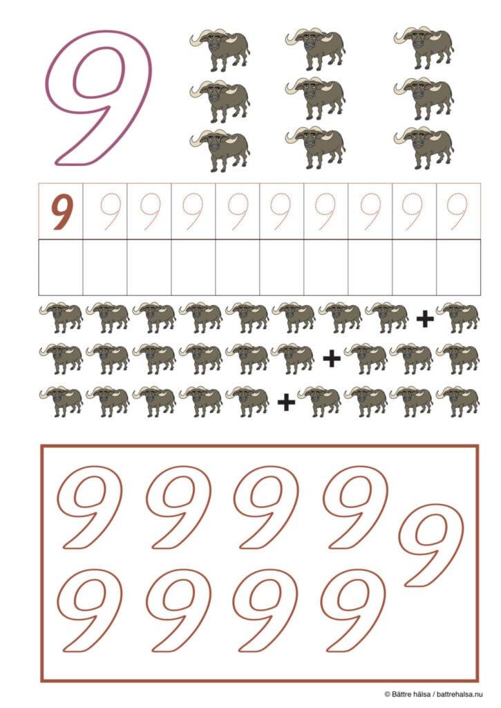 lära sig räkna, räkna, matte, räkna till tio, pyssla och lek, bättre hälsa, pyssel för barn, barnpyssel, matte, matematik, mattepyssel, pyssel, knep och knåp, räkna till 9, nio