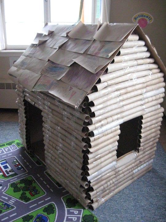pyssel, barnpyssel, pyssel för barn, aktiviteter, aktiviteter för barn, toalettrulle, toarullepyssel, pyssel med toarullar, bygg ett hus