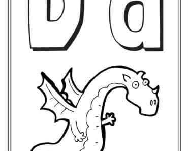 aktiviteter för barn, barnaktiviteter, pyssla och lek, knep och knåp, måla, färglägg, målarbild, alfabetet, bokstaven D