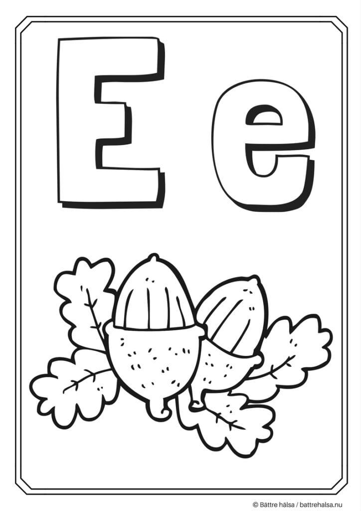 aktiviteter för barn, barnaktiviteter, pyssla och lek, knep och knåp, måla, färglägg, målarbild, alfabetet, bokstaven E