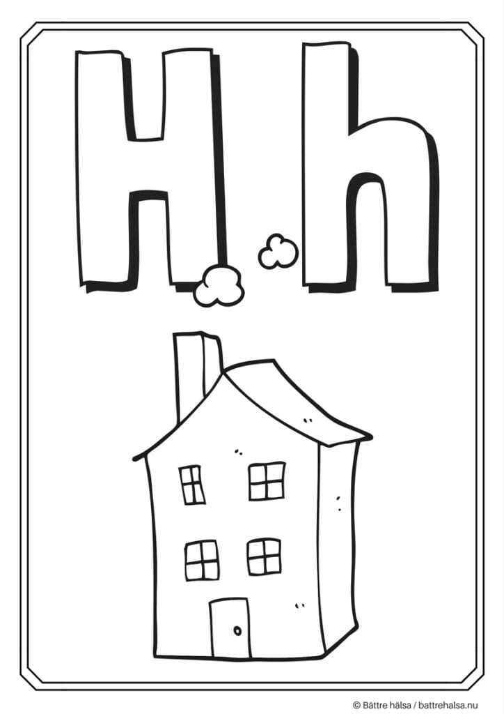 aktiviteter för barn, barnaktiviteter, pyssla och lek, knep och knåp, måla, färglägg, målarbild, alfabetet, bokstaven H