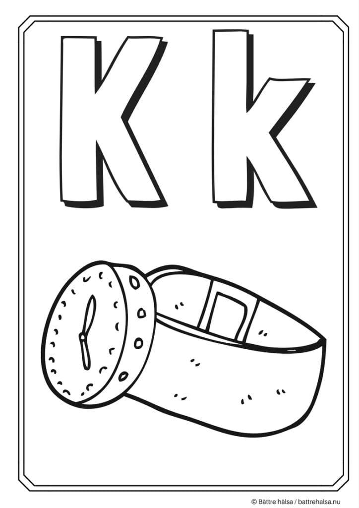 aktiviteter för barn, barnaktiviteter, pyssla och lek, knep och knåp, måla, färglägg, målarbild, alfabetet, bokstaven K
