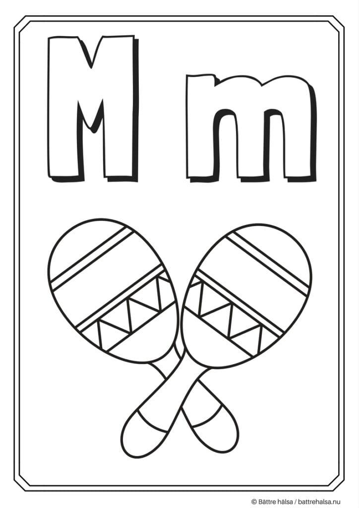 aktiviteter för barn, barnaktiviteter, pyssla och lek, knep och knåp, måla, färglägg, målarbild, alfabetet, bokstaven M