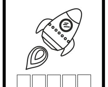 aktiviteter för barn, barnaktiviteter, pyssla och lek, knep och knåp, lära sig ord, måla, färglägg, målarbild, raket, rymden, rymdskepp, rymdraket