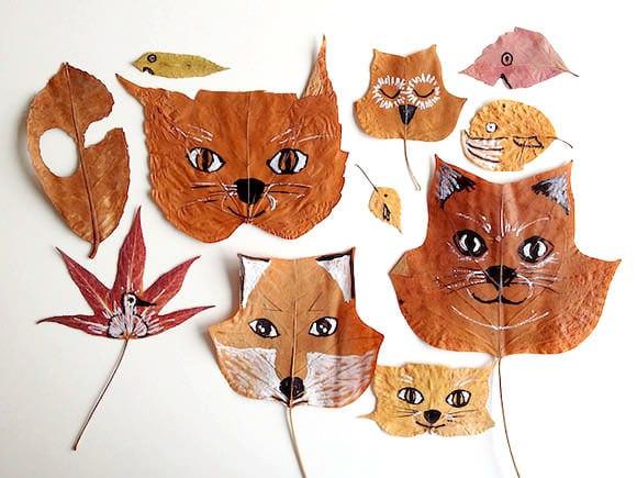 höstpyssel, pyssel, pysseltips, pyssla, barnpyssel, pyssel för barn, höstlöv, löv, djur, djur av höstlöv, måla på löv