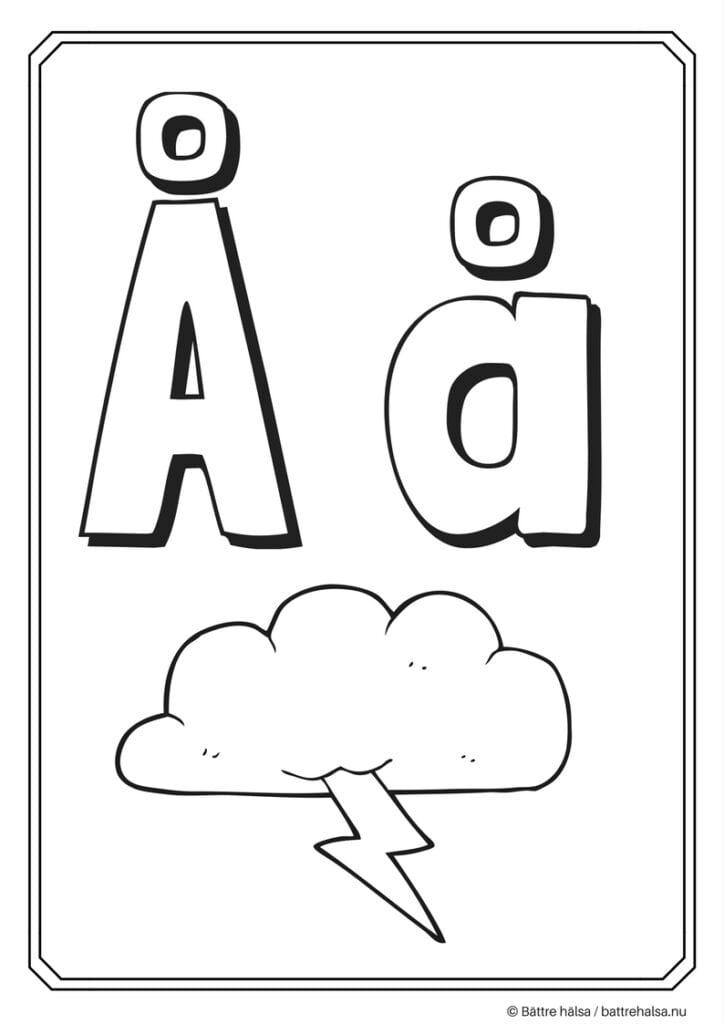 aktiviteter för barn, barnaktiviteter, pyssla och lek, knep och knåp, måla, färglägg, målarbild, alfabetet, bokstaven Å